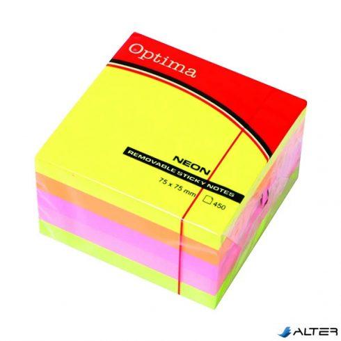 Öntapadós jegyzet OPTIMA 75x75mm neon 450 lap