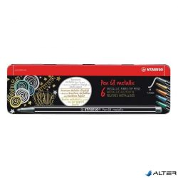 Filctoll Stabilo Pen 68 M metallic 6-os fémdobozban