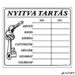 PIKTOGRAM NYITVA TARTÁS /SZÁMOKKAL/ 7 NAPOS FEHÉR