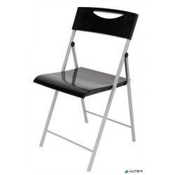 """Összecsukható szék, fém és műanyag, ALBA """"Smile"""", fekete"""