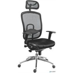 """Főnöki szék, fejtámlával szövetborítás, hálós háttámla, """"Oklahoma"""", fekete"""