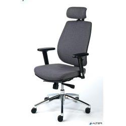 """Irodai szék, állítható karfával, szürke szövetborítás, alumínium  lábkereszt, MAYAH """"Grace"""""""