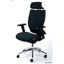 """Főnöki szék, fejtámasszal, fekete szövetborítás, feszített szövet háttámla, fekete lábkereszt, MAYAH """"Crown"""""""