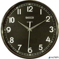 Falióra, 24 cm, fekete számlap,   SECCO, króm színű keretes