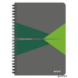 """Spirálfüzet, A5, vonalas, 90 lap, laminált karton borító, LEITZ """"Office"""", szürke-zöld"""