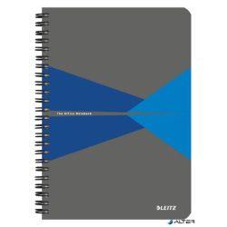 """Spirálfüzet, A5, kockás, 90 lap, PP borító, LEITZ """"Office"""", szürke-kék"""