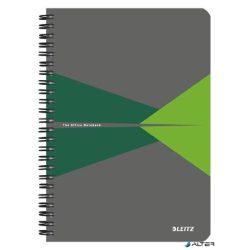 """Spirálfüzet, A5, kockás, 90 lap, PP borító, LEITZ """"Office"""", szürke-zöld"""