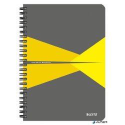 """Spirálfüzet, A5, vonalas, 90 lap, PP borító, LEITZ """"Office"""", szürke-sárga"""
