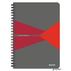 """Spirálfüzet, A5, vonalas, 90 lap, PP borító, LEITZ """"Office"""", szürke-piros"""