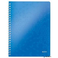 """Spirálfüzet, A4, kockás, 80 lap, LEITZ """"Wow"""", kék"""
