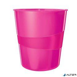 """Papírkosár, 15 liter, LEITZ """"Wow"""", metál rózsaszín"""