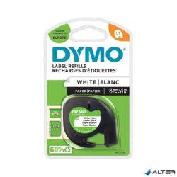 """Feliratozógép szalag, papír, 12 mm x 4 m, DYMO """"Letratag"""", fehér"""