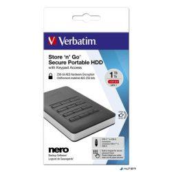 """2,5"""" HDD (merevlemez), 1TB, USB 3.1, 256 bit AES hardveres titkosítás, GDPR, VERBATIM """"Secure Portable"""", fekete"""