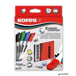 Tábla- és flipchart marker készlet mágneses táblatörlő szivaccsal, 3-5 mm, vágott, KORES, 4 különböző szín