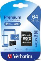 Memóriakártya, Micro SD, 64GB, Class 10, adapterrel VERBATIM