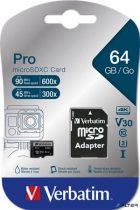"Memóriakártya, microSDXC, 64GB, Class 10 UHS-I, adapterrel, VERBATIM ""PRO"""