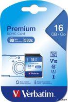 Memóriakártya, SDHC, 16GB, Class 10, VERBATIM