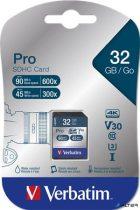 """Memóriakártya, SDHC, 32GB, Class 10 UHS-I, 90/45MB/sec, VERBATIM """"PRO"""""""