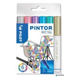 """Dekormarker készlet, 1 mm, PILOT """"Pintor F"""" 6 különböző metál szín"""