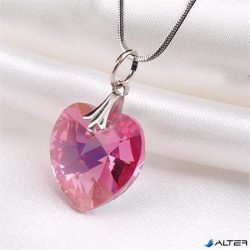 Nyaklánc, szív formájú, rózsaszín SWAROVSKI® kristállyal, 18mm ART CRYSTELLA®