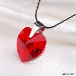 Nyaklánc, szív formájú, light siam piros SWAROVSKI® kristállyal, 18mm ART CRYSTELLA®