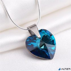 Nyaklánc, szív formájú, bahama kék SWAROVSKI® kristállyal, 18mm ART CRYSTELLA®