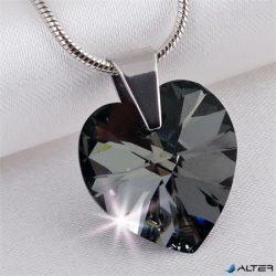 Nyaklánc, szív formájú, Black Diamond SWAROVSKI® kristállyal, 18mm ART CRYSTELLA®