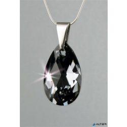 Nyaklánc, esőcsepp formájú, Black Diamond SWAROVSKI® kristállyal, 16mm, ART CRYSTELLA®