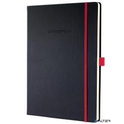"""Jegyzetfüzet, exkluzív, A4, vonalas, 194 oldal, keményfedeles, SIGEL """"Conceptum Red Edition"""", fekete-piros"""