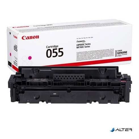 CRG-055 Lézertoner i-Sensys LPB663, 664, MF742, 744, 746 nyomtatókhoz, CANON, magenta, 2,1k