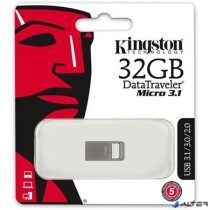 "Pendrive, 32GB, USB 3.1, 100/15MB/s, KINGSTON ""Data Traveler Micro"", ezüst"