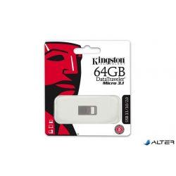 """Pendrive, 64GB, USB 3.1, 100/15MB/s, KINGSTON """"Data Traveler Micro"""", ezüst"""