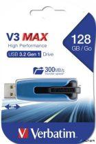 "Pendrive, 128GB, USB 3.0, 175/80 MB/sec, VERBATIM ""V3 MAX"", kék-fekete"