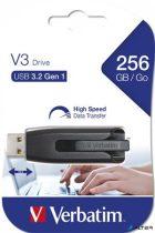 """Pendrive, 256GB, USB 3.0, 80/25 MB/sec, VERBATIM """"V3"""", fekete-szürke"""