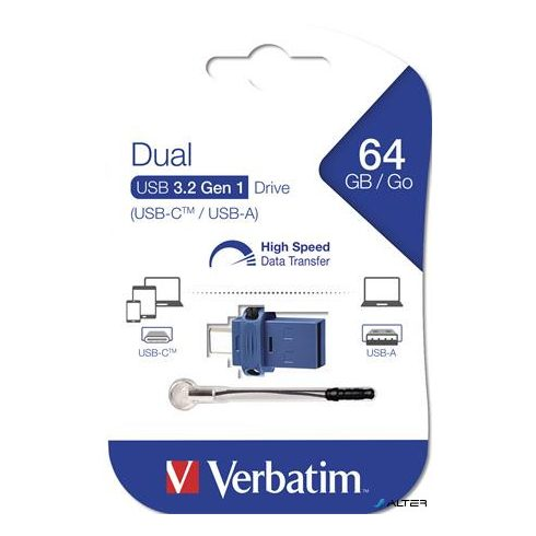 "Pendrive, 64GB, USB 3.0+USB-C adapter, VERBATIM, ""DUAL"""