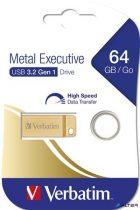 "Pendrive, 64GB, USB 3.0,  VERBATIM ""Exclusive Metal"" arany"