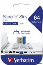 "Pendrive, 64GB, USB 3.0, 80/25MB/sec, VERBATIM ""NANO STORE 'N' STAY"""
