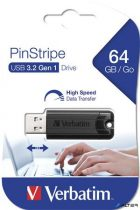 "Pendrive, 64GB, USB 3.0, VERBATIM ""Pinstripe"", fekete"