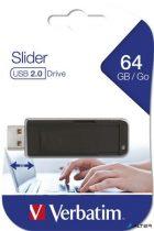 "Pendrive, 64GB, USB 2.0, VERBATIM ""Slider"", fekete"