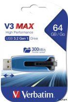 "Pendrive, 64GB, USB 3.0, 175/80 MB/sec, VERBATIM ""V3 MAX"", kék-fekete"