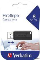 """Pendrive, 8GB, USB 2.0, 10/4MB/sec, VERBATIM """"PinStripe"""", fekete"""